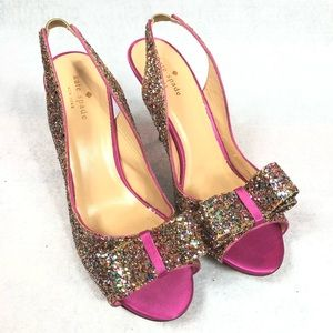 "KATE SPADE ""Charm"" Glitter Shoes Size 10"